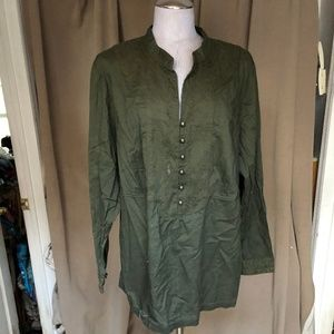 Charter Club Woman FALL olive embroidered tunic20W